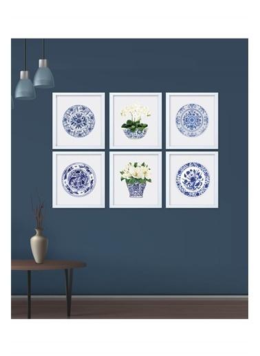 Lyn Home & Decor Mavi Çini Çerçeveli Poster 6 Lı Tablo 6 Adet 33,5X33,5 Beyaz